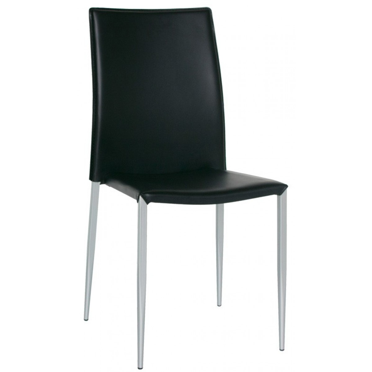 Sedia versatile rivestita in ecopelle di colore nero per for Sedia design ecopelle