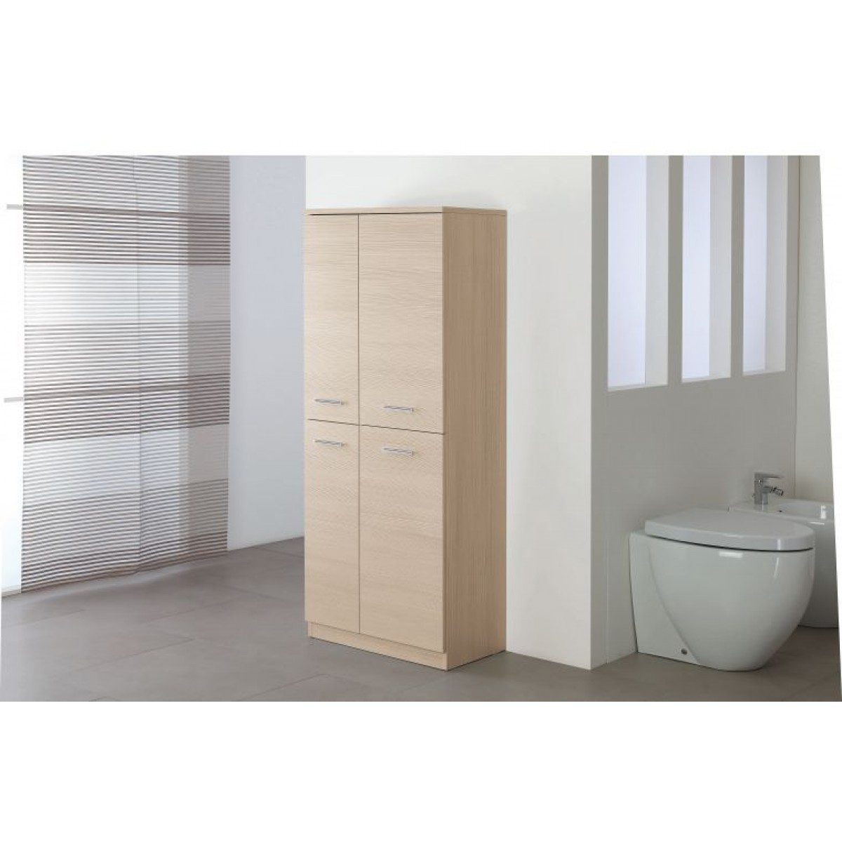 Armadio portabiancheria bagno moderno color larice cm for Colonna armadio bagno