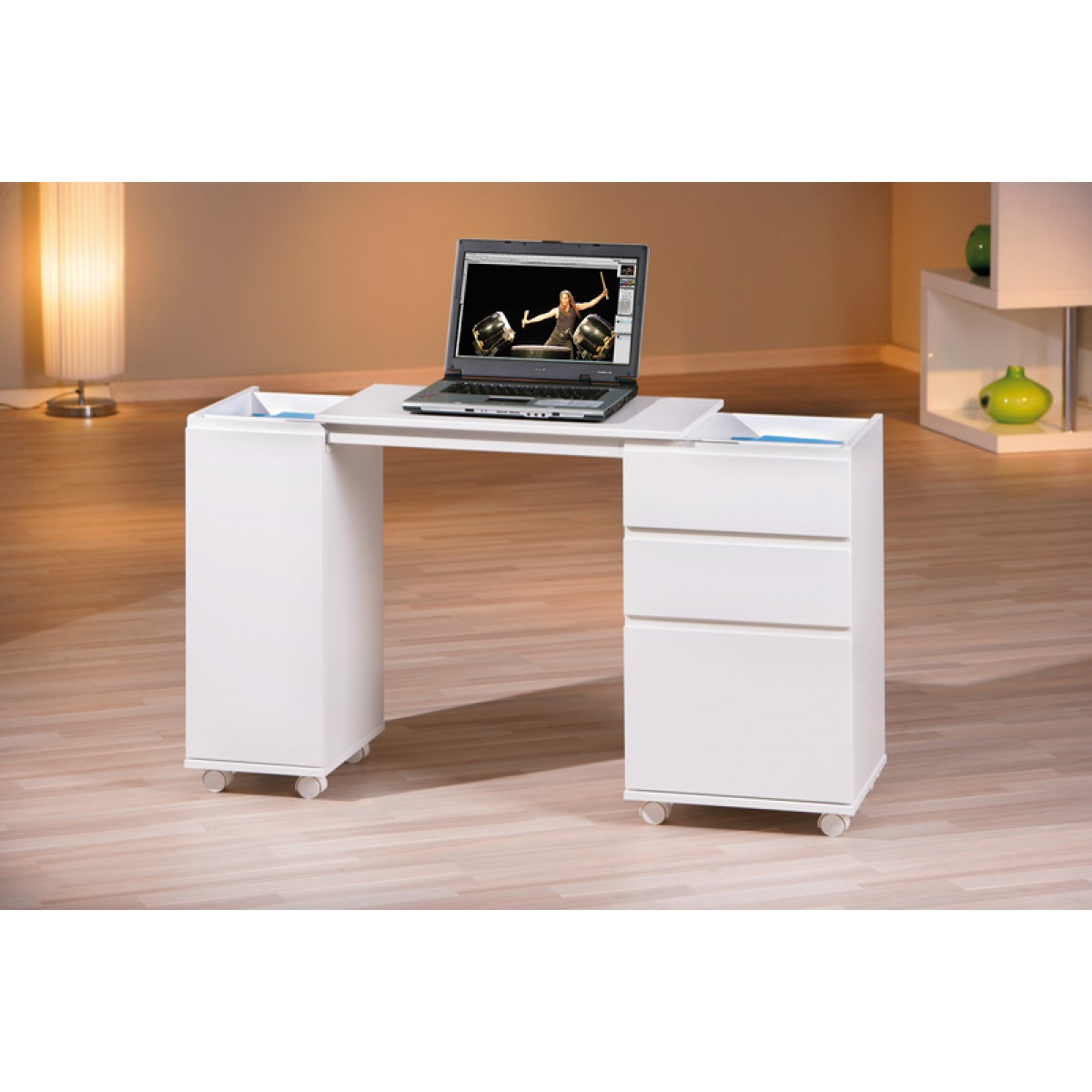 mobile scrivania allungabile laptop con cassetti in legno On scrivania allungabile