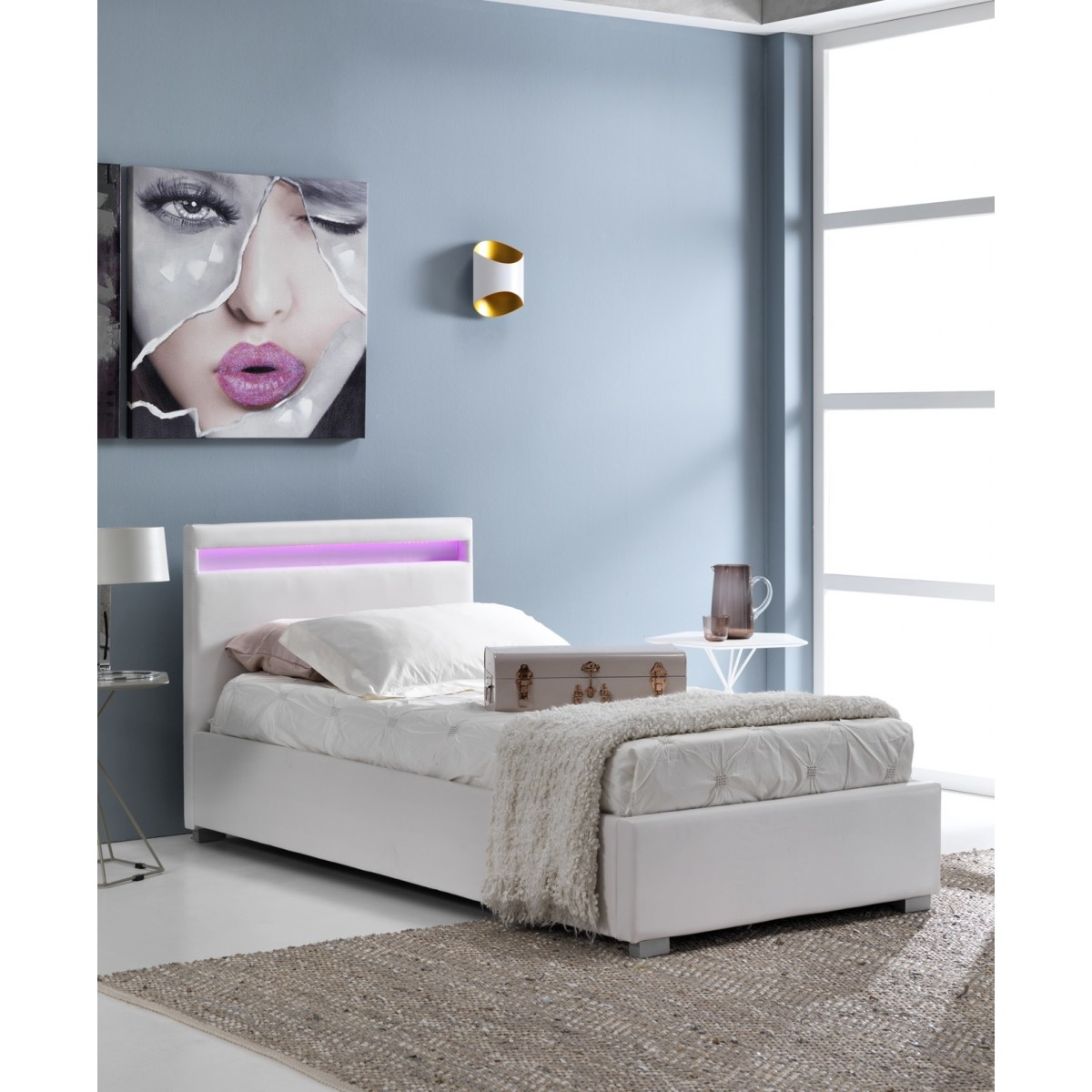 Letto Singolo Moderno.Letto Singolo Moderno Con Contenitore In Similpelle Bianco Con Luce