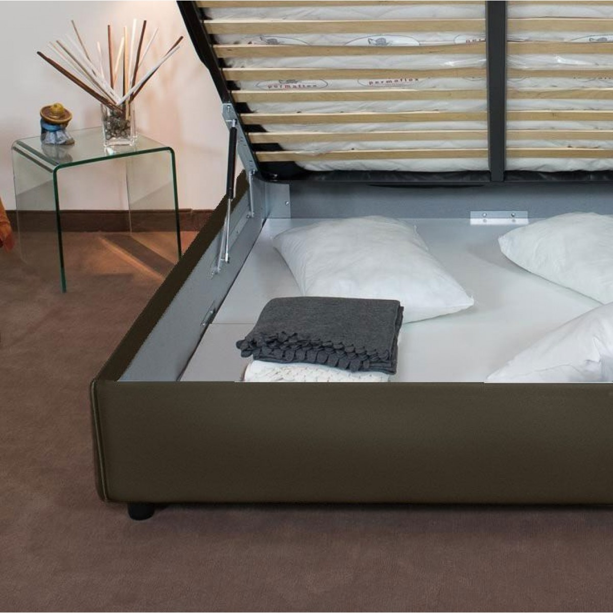 Letto Sommier.Tosca Letto Sommier Una Piazza E 1 2 Design Moderno In Similpelle