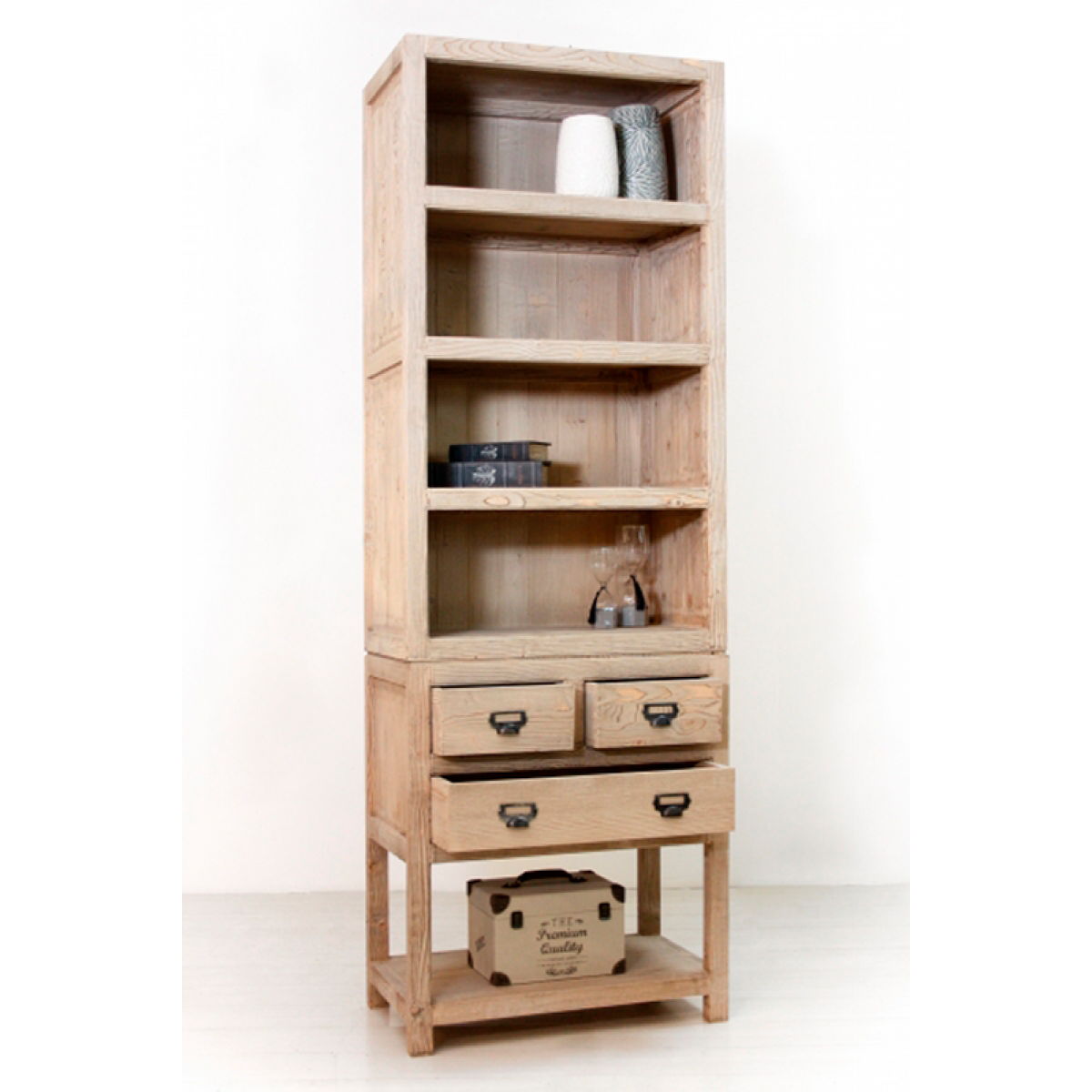 Libreria scaffale country in legno massello di abete naturale cm ...