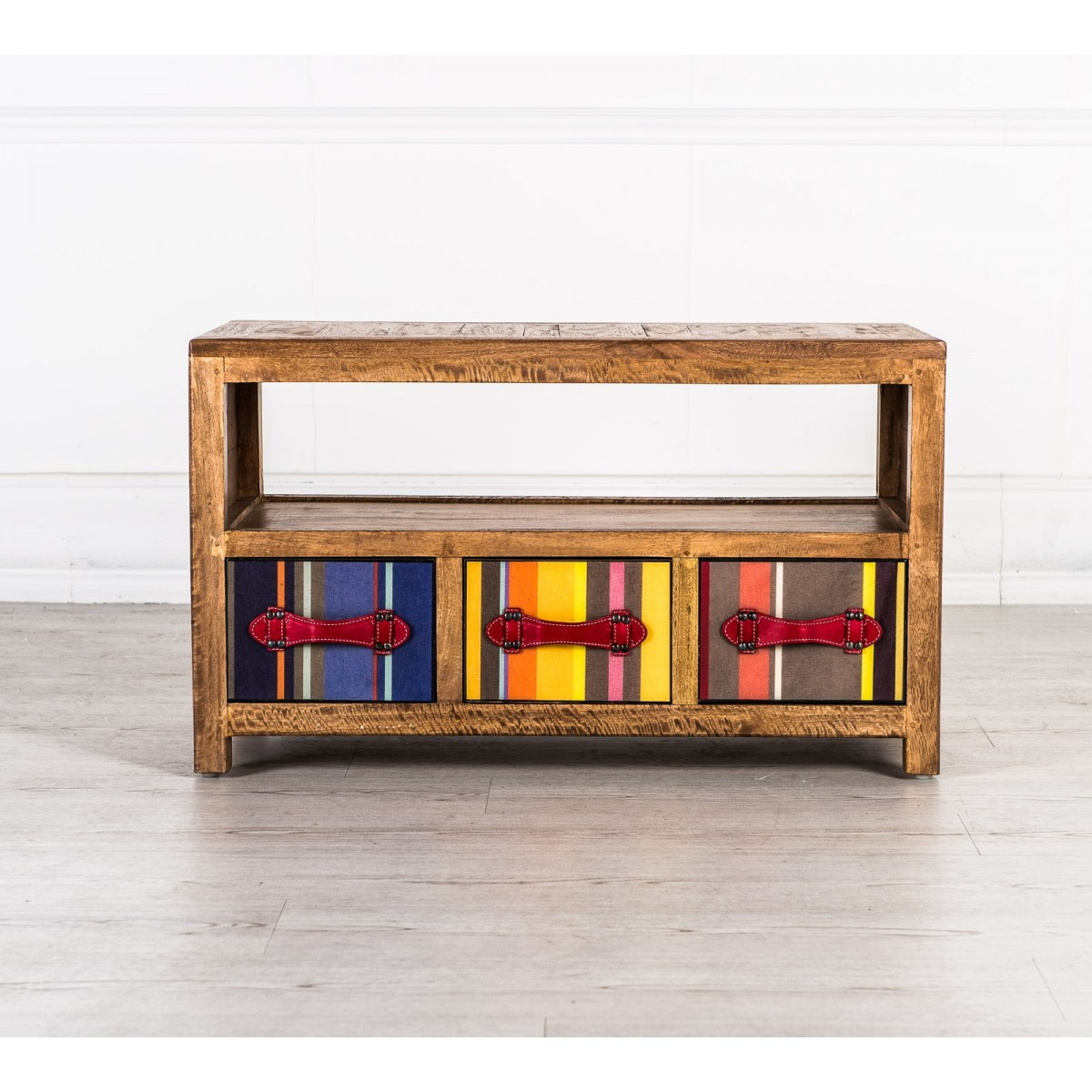 Mobile porta tv colours mobiletto country in legno massello con 3 cassetti multicolor collyshop - Mobile porta tv legno design ...