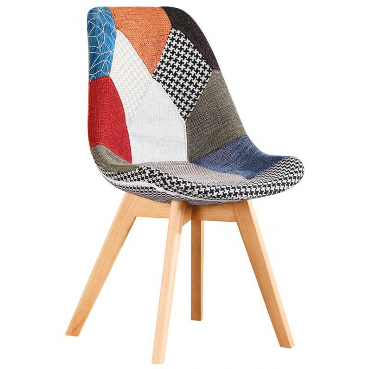 Sedia patchwork colorata in tessuto e gambe in legno per living o da ...