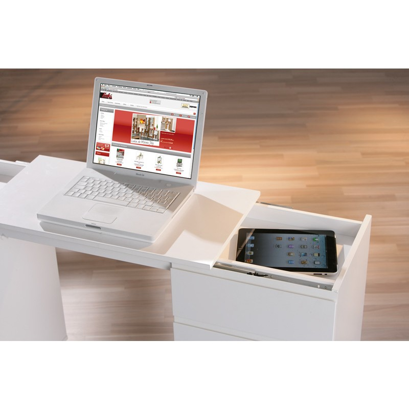 Mobile scrivania allungabile laptop con cassetti in legno for Mobile con scrivania