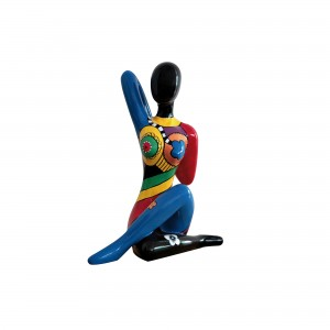 scultura femminile in poliresina multicolore blue dancer