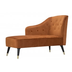 chaise lounge in velluto ruggine piedini colore oro