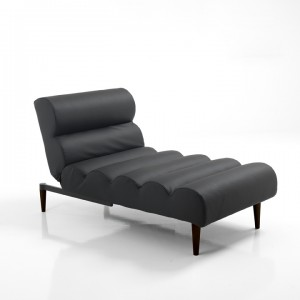 chaise lounge lettino similpelle nero