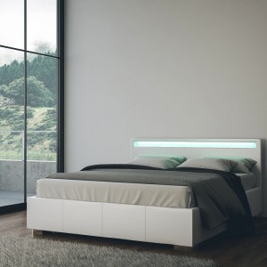letto in ecopelle bianco con luci a led