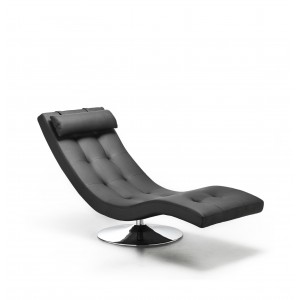 Poltrona moderna chaise longue design in ecopelle colore nero