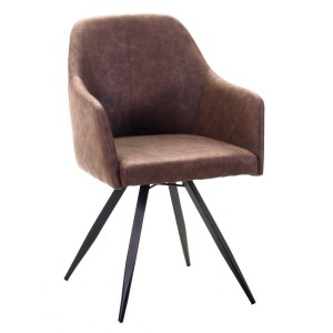 Poltroncina industrial vintage in ecopelle gambe in legno