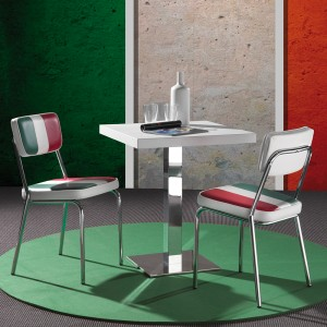 Sedia Italia design in metallo cromato con in ecopelle tricolore per bar, pub e bistrot