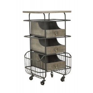 carrello stile industrial portaoggetti in ferro e legno
