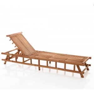 chaise longue in bamboo colore naturale schienale reclinabile