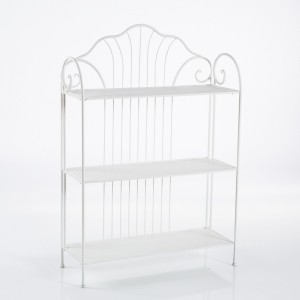 Etagere in metallo bianco stile shabby cm81x30x139h