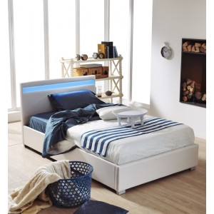 letto contenitore moderno in similpelle con luce a led