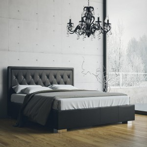 William - Letto matrimoniale in ecopelle nero con contenitore e testiera con bottoni Swarovski