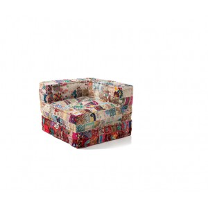poltrona chaise longue in patchwork colorato