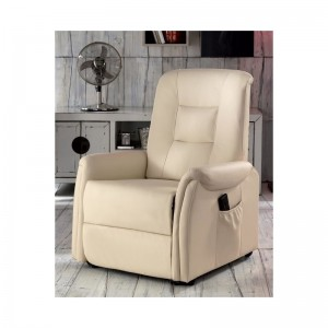 Poltrona relax con alzapersona e schienale reclinabile in ecopelle colore beige