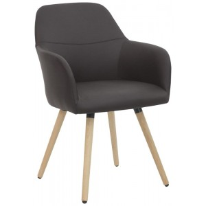 poltroncina in ecopelle marrone gambe in legno