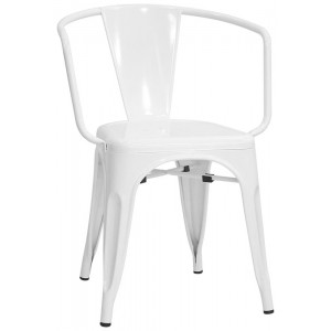 poltroncina stile industrial colore bianco