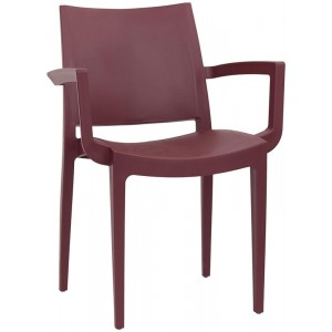 sedia con braccioli moderna in polipropilene colore bordeaux