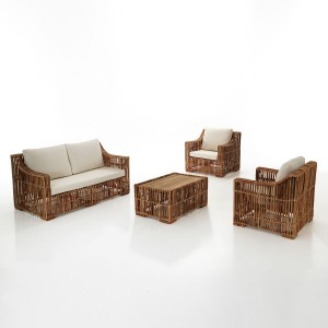 set living in rattan colore naturale